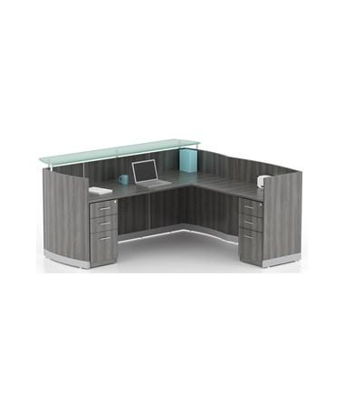 MAYMNRS- Medina™ Series Reception Station with Optional Return & Pedestals - Station with Return & 2 - B/B/F Pedestals