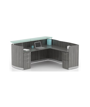 MAYMNRS- Medina™ Series Reception Station with Optional Return & Pedestals -Station with Return, B/B/F & F/F Pedestals