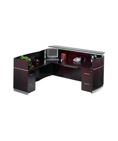 MAYNRSLBA- Napoli® L Shaped Reception Station with Optional Pedestals - with 2 F/F Pedestals