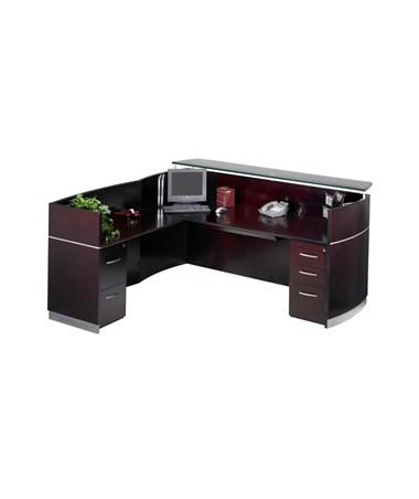 Napoli® L Shaped Reception Station with Optional Pedestals MAYNRSLBA-