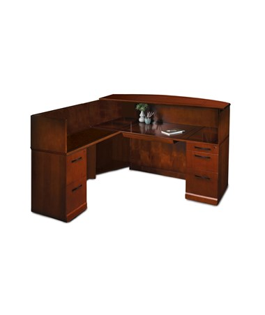 MAYSRCSL- Sorrento™ Series L Shaped Reception Station with Pedestals - Veneer Counter