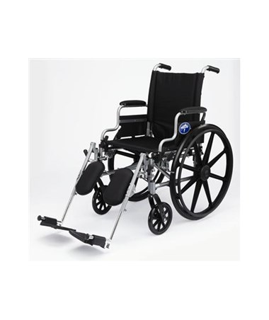 Medline MDS806560PLUS Anti-Tipper Light Weight Wheelchair with Swing Away Footrest and Swing Back Height Adjustable Desk Length Arms