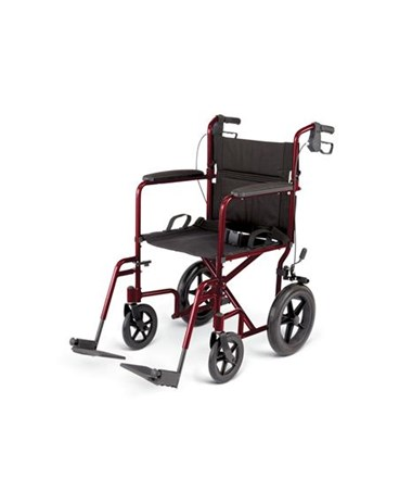 Excel Deluxe Basic Aluminum Transport Chair in Red