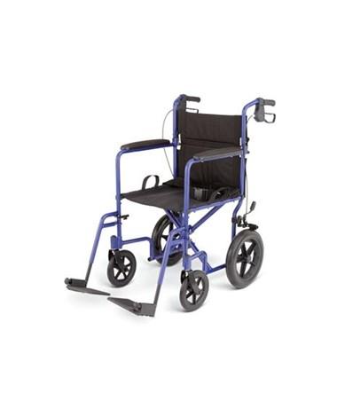 Medline Excel Deluxe Basic Aluminum Transport Chair Blue