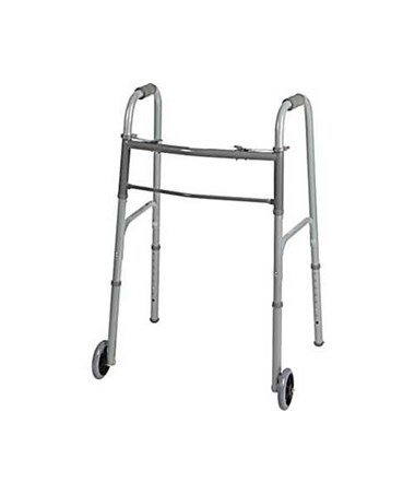 "Medline Guardian Two-Button Adult Folding Walker with 5"" Wheels"
