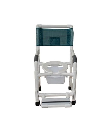 MJM 118-3-FF-SQ-PAILCommode Shower Chair with Folding Footrest and Commode Pail