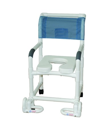 MJM118-3-SSDE-IF Soft Seat Shower Commode with Individual Footrest