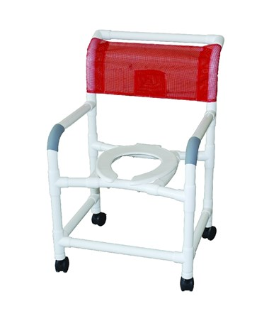 MJM122-3-FB Wide Commode Shower Chair with Full Mesh Back