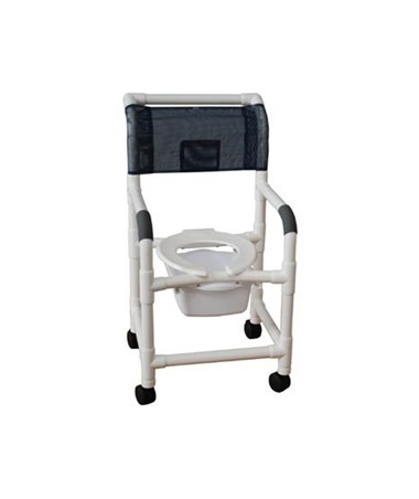 "MJM122-3-SQ-PAIL 22"" Wide Shower Commode with Commode Pail"