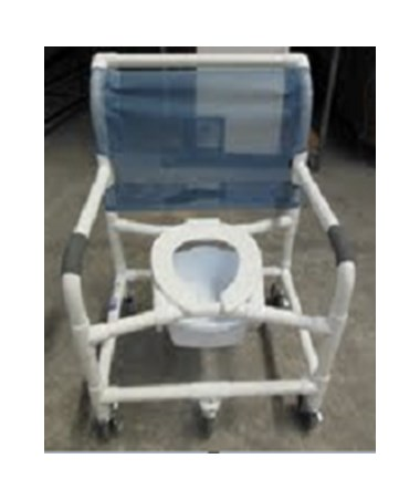 "26"" Bariatric Commode Shower Chair with Heavy Duty Casters MJM126-5-BAR"