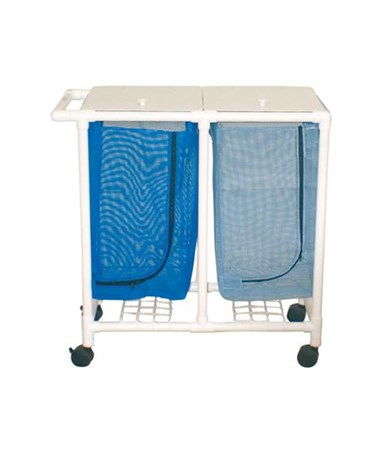 MJM 213-D Space Saving Double Hamper with Mesh