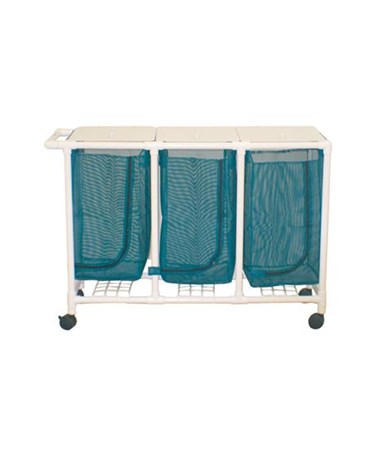 MJM 213-T Space Saving Triple Hamper with Mesh Bag