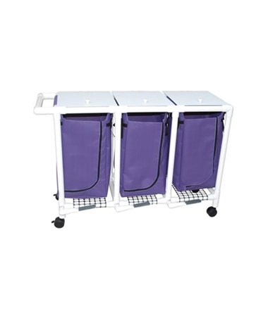 MJM 214-T-LP-MRI MRI Triple Hamper with Mesh Bag and Foot Pedal
