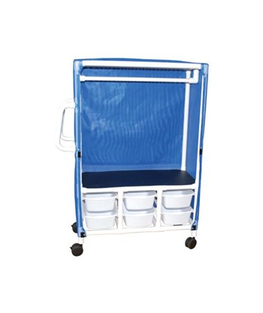 MJM 345-1C-6T, Linen Hanging Cart with Six Slide Out Tubs