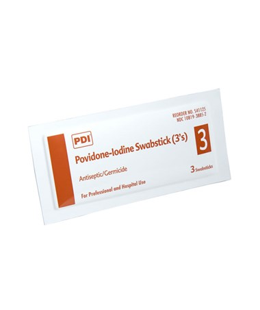 PDI Povidone-Iodine Prep Swabsticks 3-packet