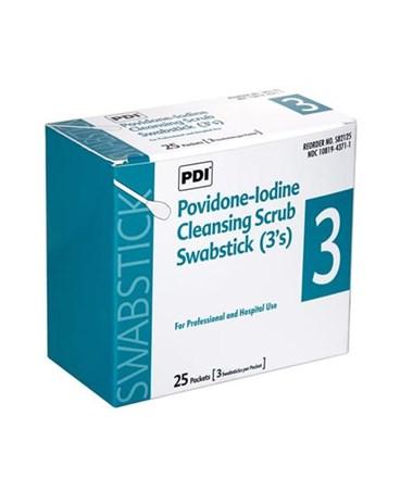 PDI Povidone-Iodine Cleansing Scrub Swabsticks 3-Packet box
