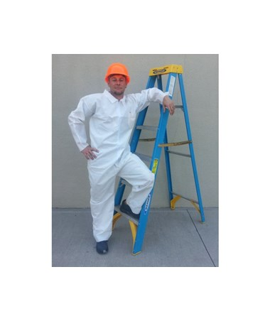 White Sunlite Ultra SMS Coverall with Front Zipper SNTT3101-3WH