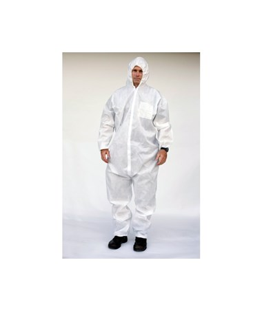 White Sunlite Ultra SMS Coverall with Attached Hood SNTT3131-3WH