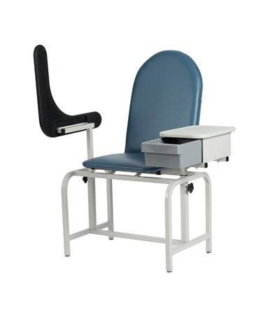 WIN2572 Padded Blood Drawing Chair with Storage Drawer - Arm Up
